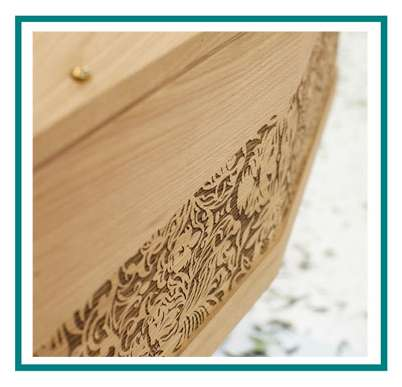 rotastyle casket manufacturer flowered threads oak detail1