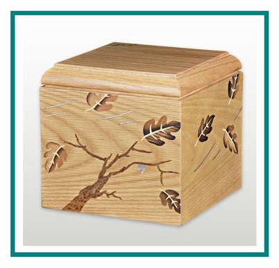 rotastyle casket manufacturer leaves in the wind American oak detail2